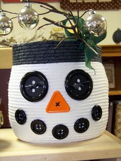 Great Snowman Rope Basket--Attic Window Quilt Shop