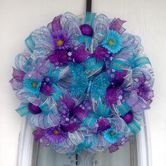 "22"" Aqua/Purple Deco Mesh Spring Wreath with Aqua Glitter Butterfly"