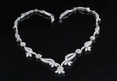 white gold, hallmarked Necklace decorated with numerous round-brilliant-cut diamonds approx. Diamonds, Pendants, Necklaces, Vintage, Gold, Handmade, Jewelry, Hand Made, Jewlery