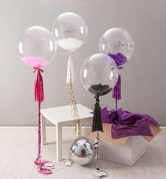 feather filled party balloon by bubblegum balloons | notonthehighstreet.com