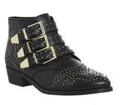 Lucky Charm Studded Buckle Western Boots