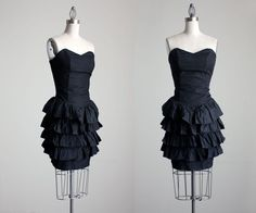Black Mini Dress 1980s Vintage Black Strapless Ruffle by decades, $68.00