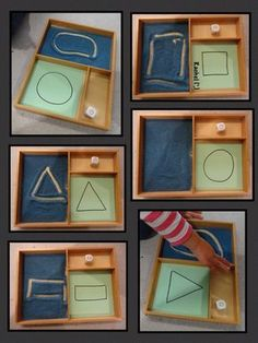 "Shapes in the Montessori Tray – from Rachel ("",) Related Post Growing Play: Kitchen Puzzle, so easy to do with w. DIY Sensory play game board for baby and toddlers Montessori Play at 13 Months Pattern Matching Game with Clothespins – Mon. Montessori Preschool, Montessori Trays, Montessori Education, Preschool Classroom, Preschool Learning, Preschool Activities, Teaching Kindergarten, Shapes For Preschool, Preschool Quotes"