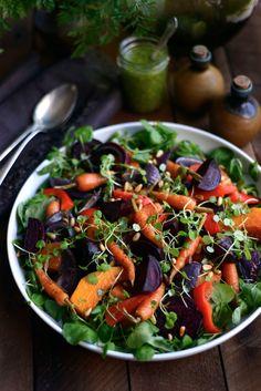 Dr Feel Good - Winter Salad -- Beets, sweet potatoes, carrots, squash/pumpkin, red onion, red pepper, pesto dressing, spinach/watercress, microgreens, pinenuts