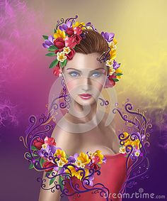 Illustration beautiful Fantasy woman with  flowers