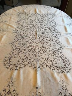 Vintage Tablecloth Large Table Ecru 71 x 58.5 Tan