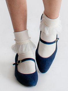 The Girly Lace Ankle Sock and the Mary Jane Pump Shoe by American Apparel.