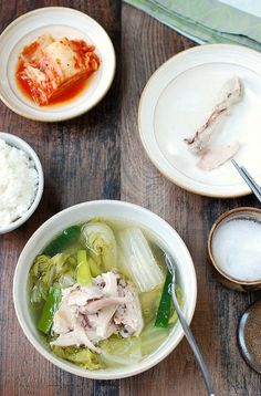 Slow cooker chicken soup with napa cabbage This slow cooker version of a Korean chicken soup is very easy to make! The flavorful, hearty soup is packed with tender chicken and soft napa cabbages. Chicken And Cabbage, Cabbage Soup, Chicken And Vegetables, Chicken Soup, Korean Chicken, Roast Chicken, Korean Dishes, Korean Food, Slow Cooker Recipes