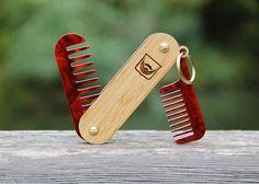 Handmade Folding Wood and Tortoise Shell Acrylic Beard Comb Keychain - Dual Tool