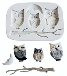 Owl Silicone Mold  #owlsiliconemold  #siliconemold #bakingsupply http://www.itacakes.com/product/owl-family-silicone-mold/