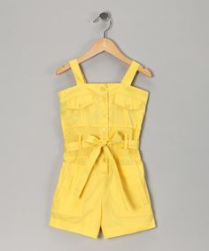 This would be cute for Grace.      Lemon Light Pocket Romper - Girls  by Chillipop on #zulily today!