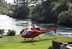 Helicopter landing in front of Huka Lodge