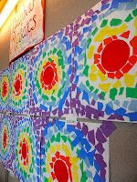 These were cool... and after we painted them with watercolor to add another medium.  Big fun. Cool colors...   Rainbow Mosaics torn paper collage color theory art lesson