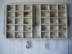 Antique beige Jewelry Display  with gold hooks by CraftersCalendar, $89.00