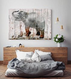 Gray Elephant Extra Large Rustic Gray Cooper Elephant canvas print, elephant wall decor, ELEPHANT art print up to by Irena Orlov Elephant Wall Decor, Elephant Canvas, Grey Elephant, Large Artwork, Large Wall Art, Acrylic Painting Canvas, Canvas Art Prints, Colorful Wall Art, Rustic Art