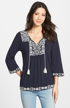 Lucky Brand Embroidered Split Neck Top | Nordstrom