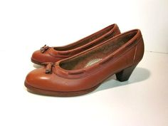 Classic Brown Pumps by cnstark on Etsy, $36.00    Vintage Accessories Shoes vintage loafer womens shoes career leather tassle stitched oxford connie 70s pumps heels