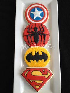 Batman, Captain America, spiderman, Superman Cookies