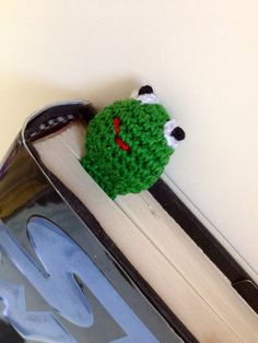 Crochet Green Bookworm Worm Bookmark by pigswife on Etsy, $8.00