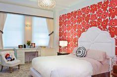 Fifth Avenue Girl's Room by Evelyn Benatar, New York Interior Design #Marimekko #Unikko #wallpaper