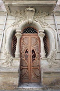 Art Nouveau!!! Bebe'!!! Love these stylish peach colored doors in an art nouveau…