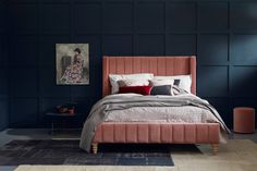 Buy the Alice bed from Love Your Home. Alice's striking ribbed headboard ensures that she stands out from the crowd Pink Bedding, Luxury Bedding, Modern Bedding, Bedding Sets, Beds Uk, Superking Bed, Velvet Bed, Love Your Home, Upholstered Beds