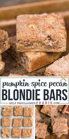 This super easy chewy Blondie Recipe is unique because raw pecan pieces are toasted in brown butter before getting mixed into the batter. A pumpkin spice and sugar mixture is sprinkled on top before baking creating a sweet crunchy topping on these Blondie Bars. #blondie #blondies #bars #recipe #pecan #brownbutter #easy #dessert