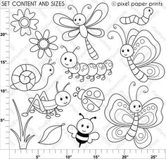 Cute Bugs - Digital Stamps Are you looking for cute high quality images to use in your projects? You've come to the right place! You can print these digital stamps to Doodle Art, Embroidery Patterns, Hand Embroidery, Machine Embroidery, Embroidery Jewelry, Digi Stamps, Colouring Pages, Easy Drawings, Baby Quilts