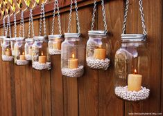 Hanging candles in mason jars