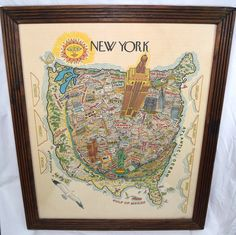 Vintage New York City Map Wall Art Illustrated Typography Bright WTC SoHo Empire #Vintage