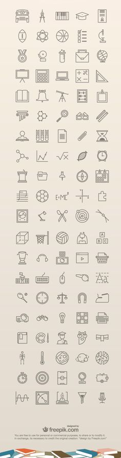 A set of 100 free education icons. The icons are really nice and clean and can be used on education related websites, mobile apps or graphics. They come - posted under by Fribly Editorial Web Design, Icon Design, Logo Design, Flat Design, Education Icon, Free Education, Education Week, Special Education, It Icons