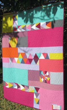 modern and fresh simple quilt made from only solids