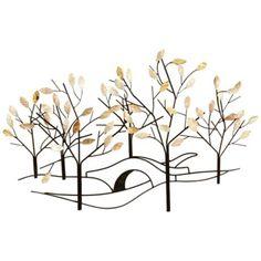 """Tree-lined Street 37 1/2"""" Wide Metal Wall Art"""