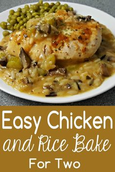 This Chicken and Rice Bake recipe has juicy boneless chicken paired with celery, mushrooms, and rice covered in a savory creamy sauce. It's super easy and delicious, and also looks and smells amazing! This recipe makes a great dinner or lunch for two. Try it for an impressive date night dish. #chicken #rice #bake #DinnerForTwo #LunchForTwo #RecipesForTwo #ChickenRiceBake via @ZonaCooks