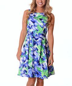 Look what I found on #zulily! Blue & Green Floral A-Line Dress #zulilyfinds