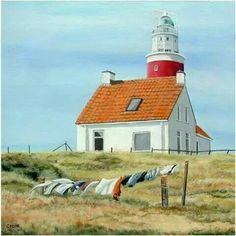 Cecile de Boer Texel - #Lighthouse - #Vuurtoren Texel maandag/wasdag acryl op doek 50x50 http://dennisharper.lnf.com/