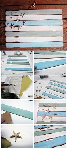 Easy Paint Stick Flag Wall Decor Ideas | Weathered Paint Stick Beach Flag by DIY…
