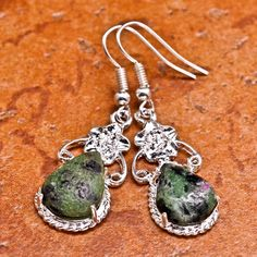 'Natural Ruby Zoisite Gemstone Earrings' is going up for auction at 11am Tue, Sep 10 with a starting bid of $3.
