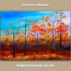 Original acrylic painting Fall Forest Aspen Tree