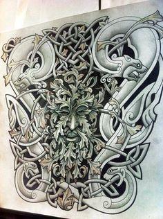 Knotty-inks Custom Celtic Tattoo Design  Mike's half sleeve.  Autumnal Green Man