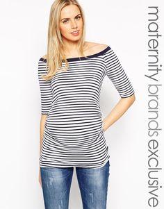 New Look Maternity 1/2 Sleeve Stripe Bardot Top