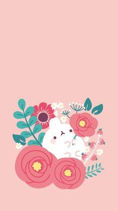 Molang spring flowers wallpaper