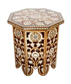 White Moroccan Mother of Pearl Inlay Side Table - MOP-ST039, (http://www.badiadesign.com/moroccan-mother-of-pearl-inlay-side-table-mop-st039/)