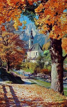 St. Sebastian Church in Autumn, Ramsau bei Berchtesgaden, Germany