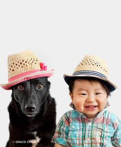 Zoey the dog and baby Jasper have become the best of friends and love posing together for their mom, Grace Chon.