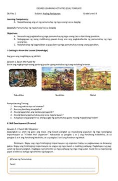 DESIRED LEARNING ACTIVITIES (DLA) TEMPLATE  DLA No. 1 Subject: Araling Panlipunan Grade Level: 8  Learning Competency:  A. Na... Grade 1, Lesson Plans, High School, Classroom, Activities, How To Plan, Education, Corner, Exterior
