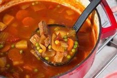 Old-Fashioned Vegetable Beef Soup Ingredients Servings 1 lb beef stew meat 1 onion 3 celery ribs 10 baby carrots (or a couple regular carrots) Vegtable Beef Soup, Beef Barley Soup, Beef Stew Meat, Beef Broth, Beef Soup Recipes, Vegetable Soup Recipes, Beef Soups, Veg Soup, Crockpot Recipes
