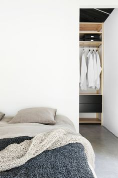 Another sweater bed - this time w/ a scarf! |  cozy + minimal + black and white and blue