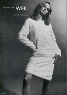 white fur dress 1960s