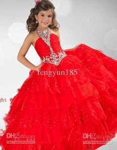 Wholesale 2013 Hot Red Halter Rhinestone amp; Beads Ruffles Girl's Pageant Dresses Organza Flowers Gown, $78.41/Piece | DHgate
